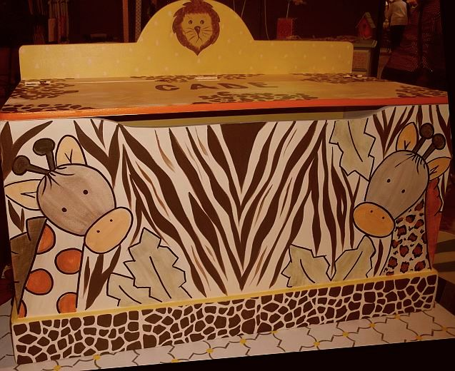 Hand Painted Zebra Decor Childrens Furniture Toyboxes And