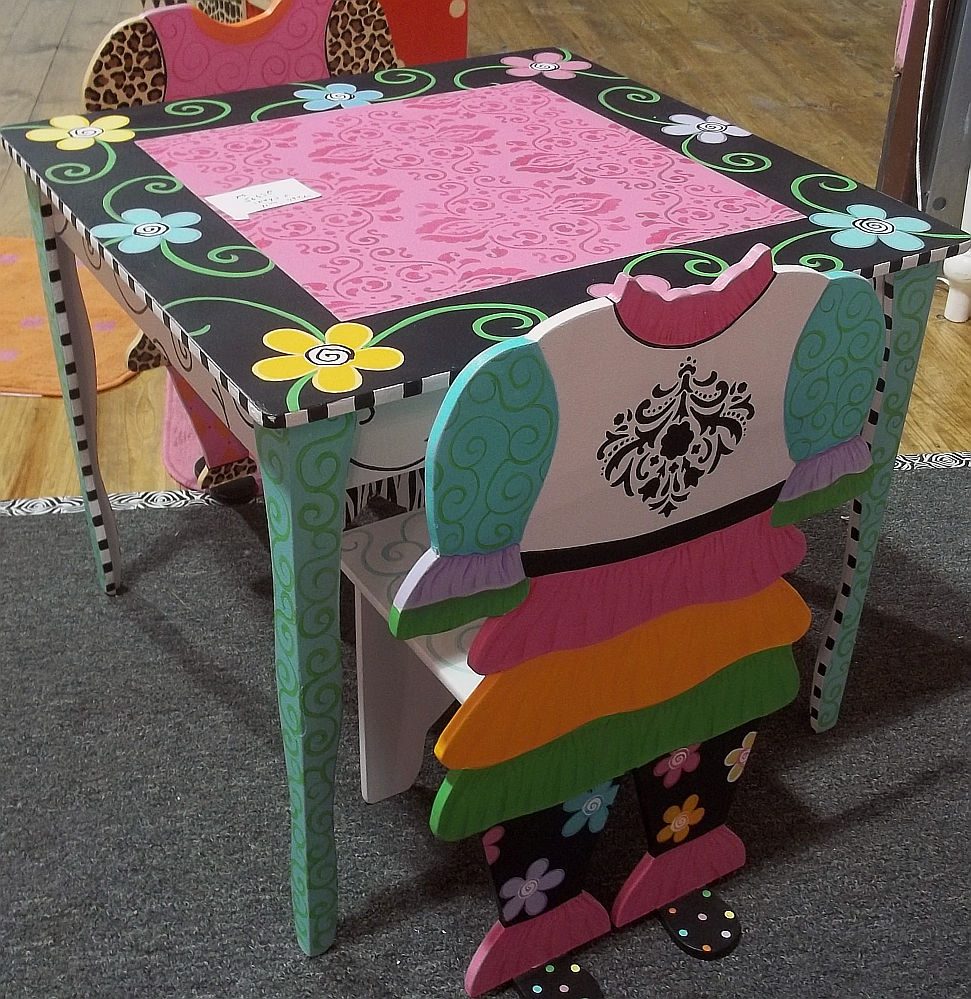 funky furntiure funky painted kids furnishings blach hot pink turq